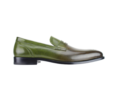 SL0016-Pesto ( Burnished Genuine Handmade Leather Slip Ons With Elegant Tapered Toes )