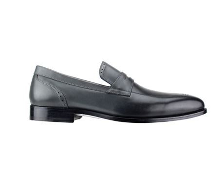 SL0016-Onyx ( Burnished Genuine Handmade Leather Slip Ons With Elegant Tapered Toes )