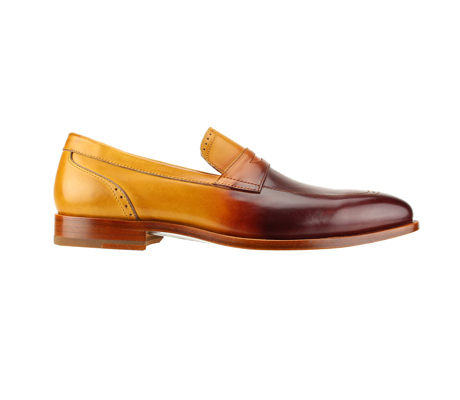 SL0016-Maple ( Burnished Genuine Handmade Leather Slip Ons With Elegant Tapered Toes )