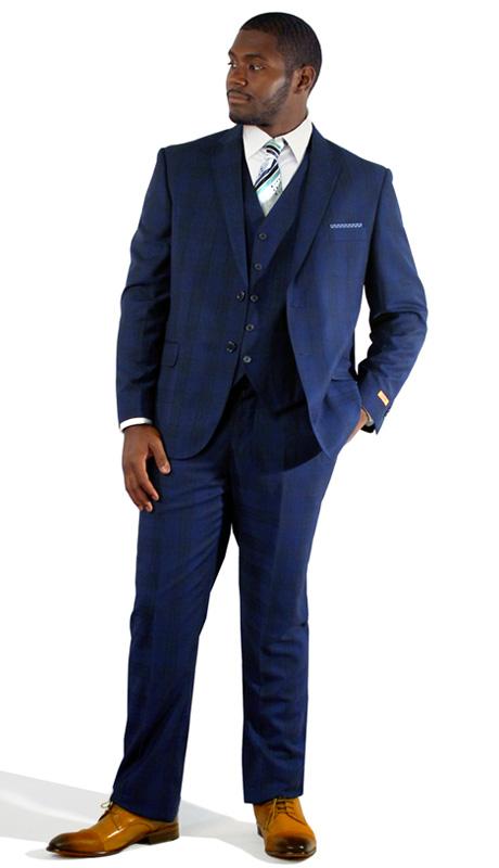 Steven Land Mens Suits Carlo-SL77-433 ( 3 Piece Tonal Plaid, 2 Button, 2 Flap Pocket, Trimmed Welt Pocket, Double Vent, Notch Lapel, With Vest And Flat-Front Pant, Shoes SL0005-SCO )