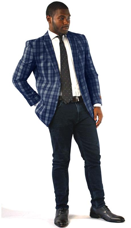Steven Land Mens Blazer George-SL77-190 ( 1 Piece Jacket With Plaid Pattern, 2 Button, Peak Lapel, 2 Flap Pockets And Double Vents, Shoes SL0005-GRA )
