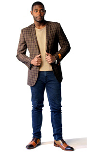 Steven Land Mens Blazer George-SL77-124 ( 1 Piece Jacket With Plaid Pattern, Peak Lapel, 2 Buttons And 2 Flap Pockets, Shoes SL0009-BRN )