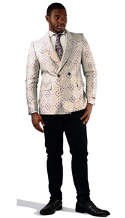 Steven Land Mens Suit Drago-SL77-809 ( 1 Piece Jacket With Textured Dot Pattern, Double Breasted, Shawl Lapel, 2 Flap Pocket And Double Vent )