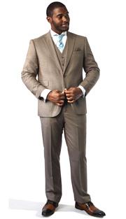 Steven Land Mens Suit Dino-SL77-355 ( 3 Piece, Tonal Gingham Pattern, 1 Button, Peak Lapel, 3 Flap Pocket, Double Vent, With Vest And Flat-Front Pant )