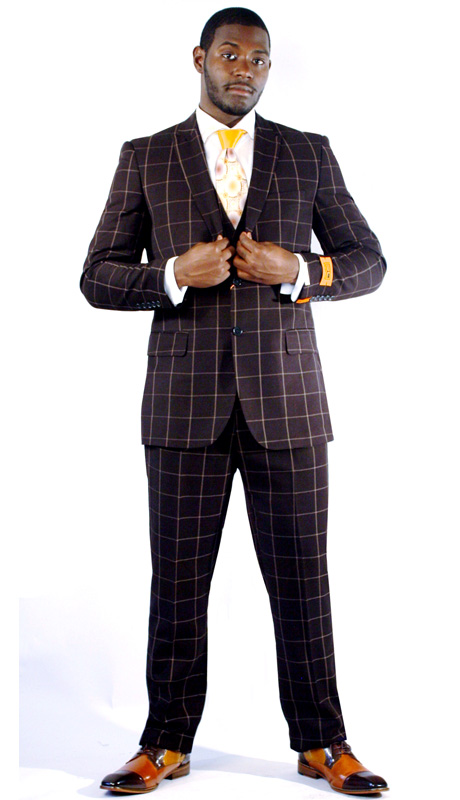 Steven Land Mens Suit Henry-SL77-118 ( 3 Piece Window Pane, Peak Lapel, 2 Button, 2 Flap Pockets, Double Vents With Vest And Pleated Pant, Shoes SL0009-BRN )