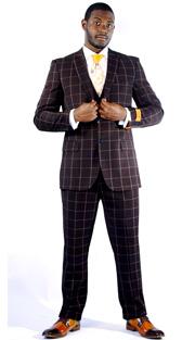 Steven Land Mens Suit Henry-SL77-118 ( 3 Piece Window Pane, Peak Lapel, 2 Button, 2 Flap Pockets, Double Vents With Vest And Pleated Pant, Shoes SL0009-BRN )
