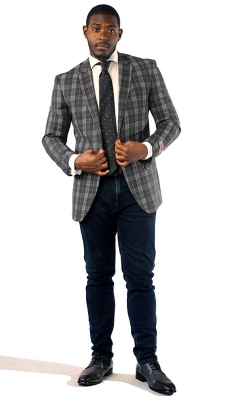 Steven Land Mens Suit George-SL77-191 ( 1 Piece Jacket With Plaid Pattern, 2 Button, Peak Lapel, 2 Flap Pockets And Double Vents, Shoes SL0005-GRA )