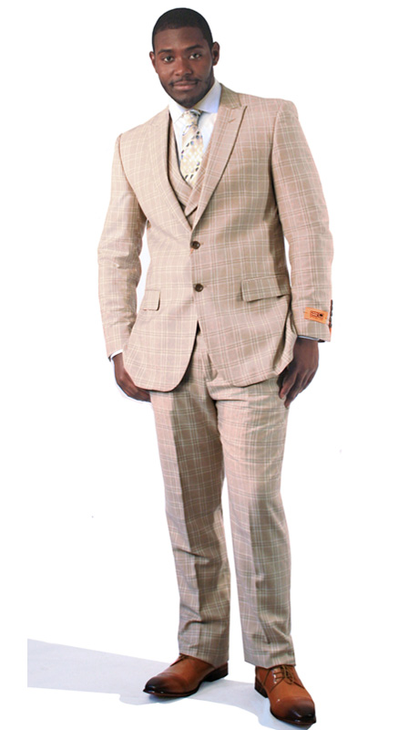 Steven Land Mens Suit Riley-SL77-261 ( 3 Piece With Plaid Pattern, Peak Lapel, 2 Button, Double Vents, 2 Flap Pockets And Ticket Pocket, Shoes SL0005-TA )