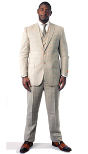Steven Land Mens Suit Riley-SL77-259 ( 3 Piece Window Pane Pattern With Orange Sherbert And Rose Color Details, Peak Lapel, 2 Button, Double Vents, 2 Flap Pockets, Double Breasted Vest and Pleated Pant )