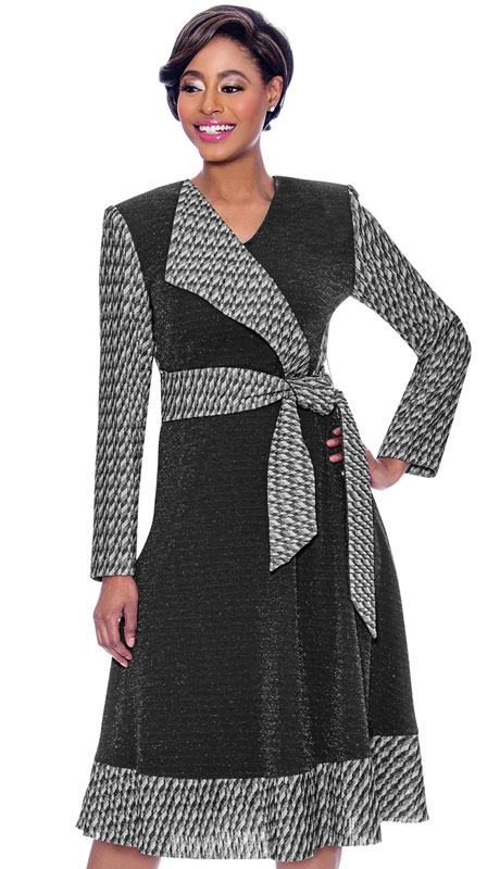 Terramina 7796-BK ( 1pc Novelty Mock Wrap Dress With Solid And Pattern Design )