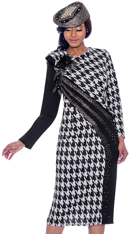 Susanna 3926-BW ( 1pc Knit Womens Dress In Houndstooth Pattern Design With Embellished Shoulder To Hemline Detail )