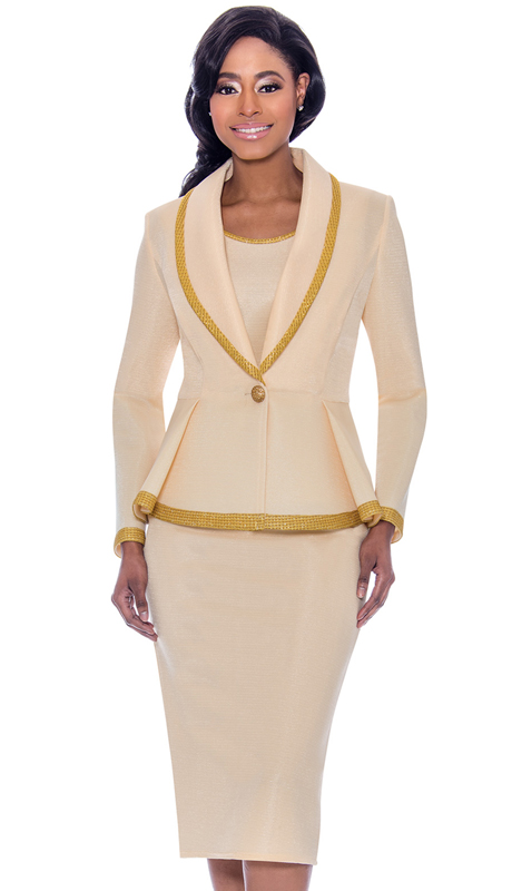 Susanna 3925-CR-CO ( 3pc Novelty Skirt & Jacket Set With Trimmed Shawl Lapel Pleated Jacket )
