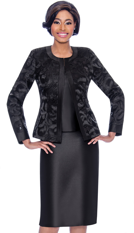 Susanna 3923-BK ( 3pc Womens Church Suit With Brocade Style Jacket And Solid Color Skirt )