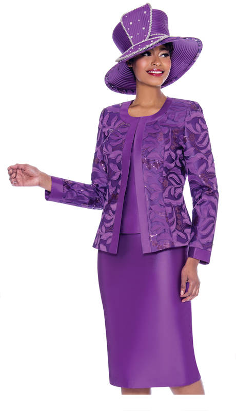 Susanna 3923-PU ( 3pc Silk Look Womens Church Suit With Brocade Style Jacket And Solid Color Skirt )