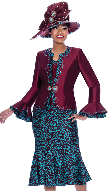 Susanna 3922-WI ( 3pc Silk Look Flounce Hem Skirt Suit In Abstract Pattern Design With Layered Bell Cuff Jacket )