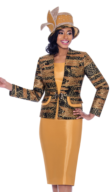 Susanna 3921-GO ( 3pc Silk Look With Novelty Skirt Suit With Leaf Outline Pattern Design Jacket )