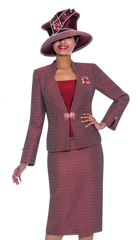 Susanna 3920-BU ( 3pc Novelty Skirt Suit With Split Buttoned Cuff Jacket )