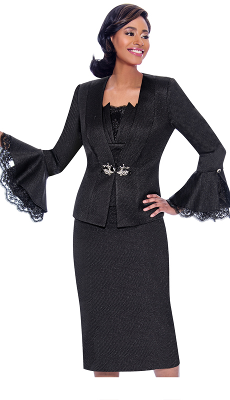 Susanna 3919-BK ( 3pc  Novelty Skirt & Jacket Set With Lace Trimmed Flounce Cuff Jacket )