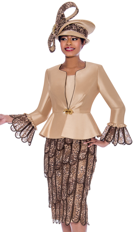 Susanna 3935-GO ( 3pc Silk With Organza Womens Church Suit With Solid Peplum Jacket And Layered Petal Design Skirt )