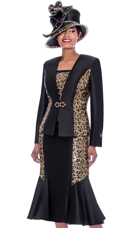 Susanna 3916-BL ( 3pc Silk Look Flared Skirt Suit With Leopard Pattern Accents )