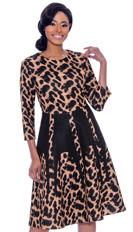 Susanna 3913-LE ( 1pc Scuba Knit Leopard Print Dress With Three Quarter Sleeves )