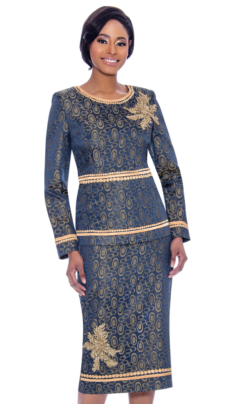 Susanna 3911-NA ( 2pc Brocade Skirt & Jacket Set In Print Pattern Design With Gold Trim And Floral Applique Accents )