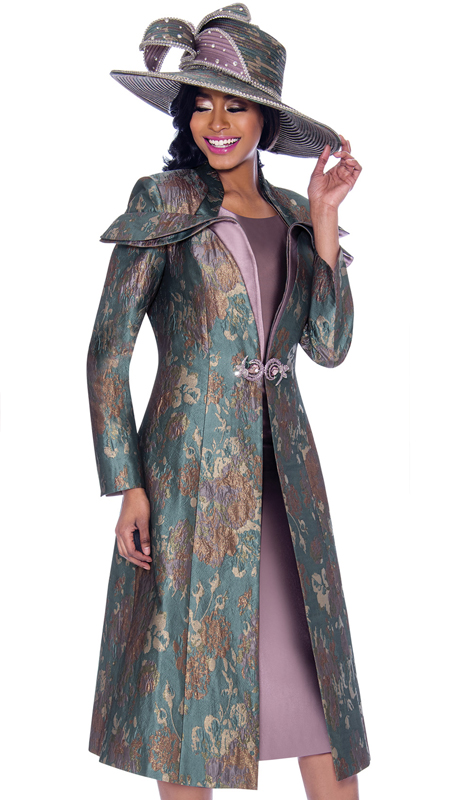 Susanna 3934-MM ( 2pc Novelty Solid Color Womens Church Dress With Print Pattern Duster Jacket )