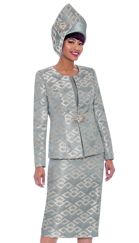 Susanna 3932-ST ( 3pc Novelty Womens Church Suit With Multidimensional Print Design )