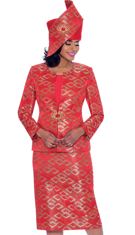 Susanna 3932-RE ( 3pc Novelty Womens Church Suit With Multidimensional Print Design )