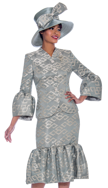Susanna 3931-ST ( 2pc Novelty Ruffled Flounce Skirt Suit In Multidimensional Print Design With Puff Bell Cuff Jacket )