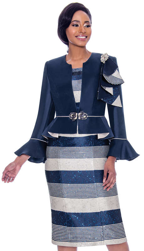 Susanna 3930-NA ( 2pc Silk Look With Novelty Striped Dress And Peplum Bell Cuff Jacket )