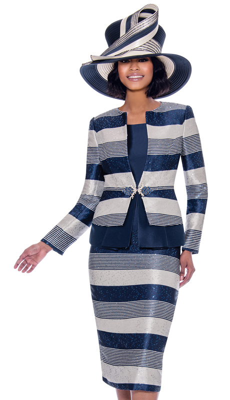 Susanna 3927-NA ( 3pc Novelty Multi Stripe Design Skirt Suit )