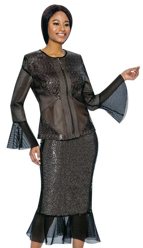 Susanna 3902-BK ( 2pc Novelty Womens Suit For Church With Bell Sleeves )