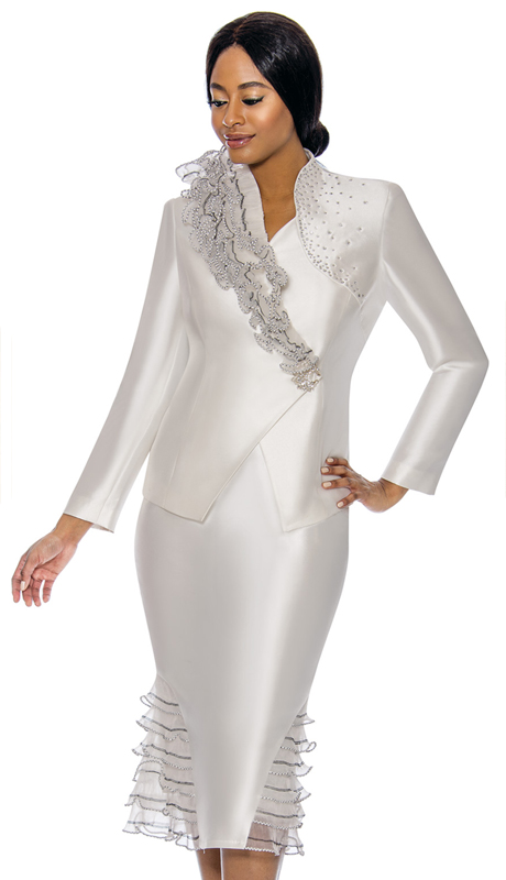 Susanna 3900-PE ( 2pc Silk Womens Sunday Suit With Organza And Rhinestone Trim )