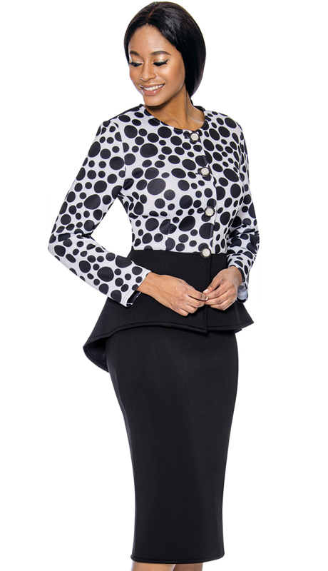 Susanna 3899-BW ( 2pc Scuba Knit Womens Sunday Suit With Peplum Jacket )