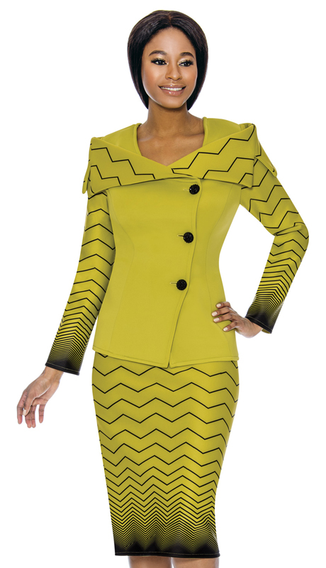 Susanna 3898-PB ( 2pc Scuba Knit Womens Sunday Suit With Zig Zag Pattern )