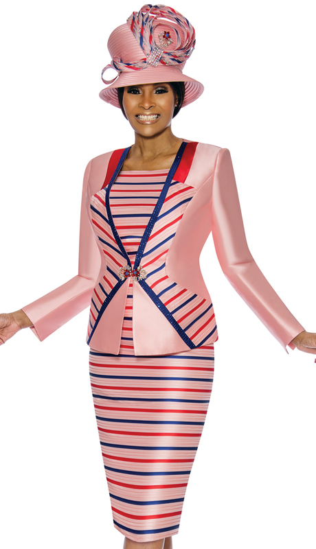 Susanna 3896-PM ( 3pc Silk Womens Church Suit With Stripe Pattern )