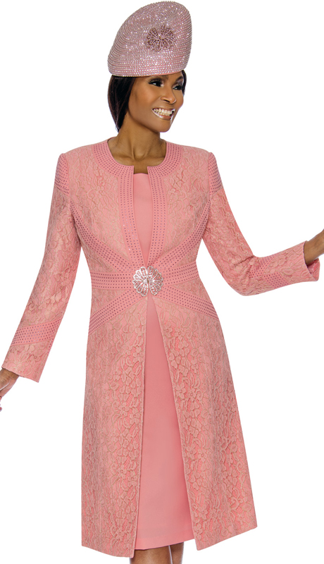 Susanna 3895-PE ( 2pc Brocade Ladies Church Dress With Duster Jacket )
