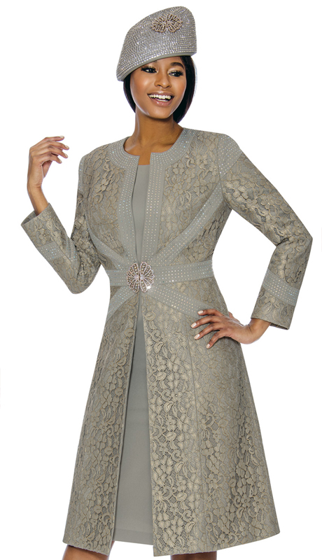 Susanna 3895-GR ( 2pc Brocade Ladies Church Dress With Duster Jacket )
