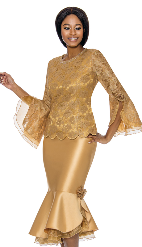 Susanna 3894-GO ( 2pc Novelty Suit For Church With Flare Sleeves And Trumpet Skirt )