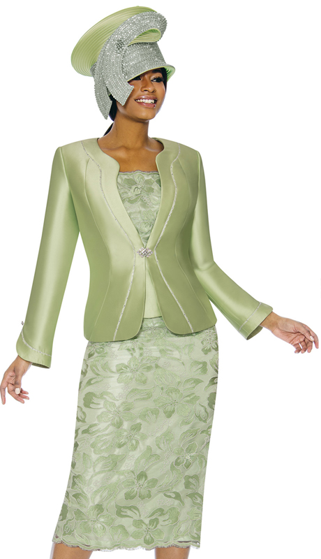 Susanna 3892-GR ( 3pc Silk With Novelty Womens Sunday Suit With Floral Pattern Skirt )