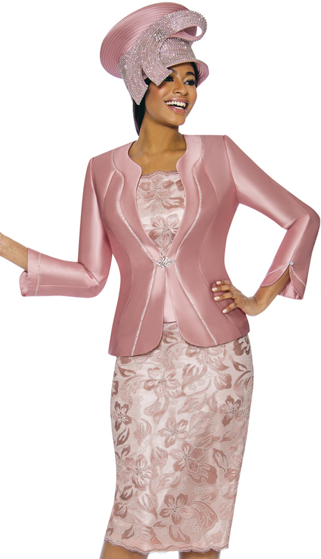 Susanna 3892-MA ( 3pc Silk With Novelty Womens Sunday Suit With Floral Pattern Skirt )