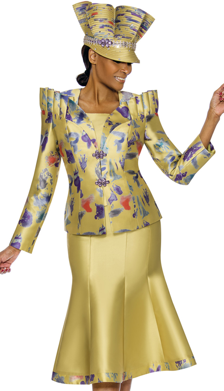 Susanna 3891-CP ( 3pc Silk With Novelty Womens Sunday Suit )