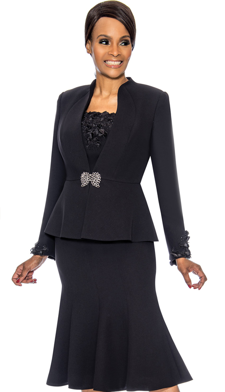 Susanna 3890-BK ( 3pc PeackSkin Womens Church Suit )
