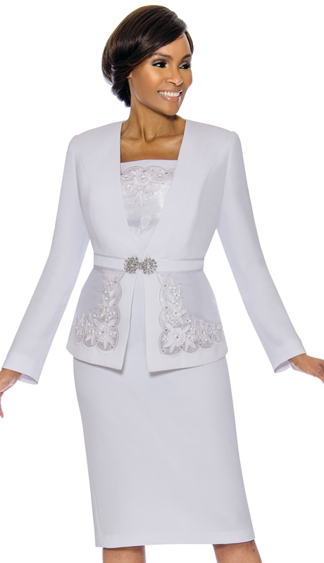 Susanna 3889-WH ( 3pc PeachSkin Suit For Church With Floral Design And Rhinestone Trim  )