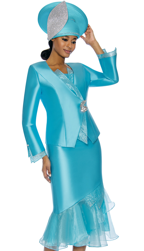 Susanna 3888-AB ( 3pc Silk Womens Church Suit )