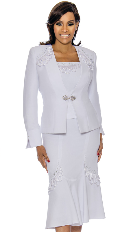Susanna 3886-WH ( 3pc PeackSkin Womens Church Suit )