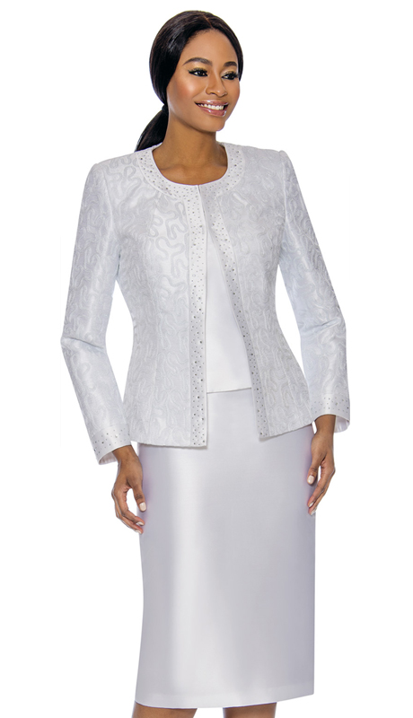 Susanna 3885-WH ( 3pc Silk Womens Church Suit With Patterned Jacket )