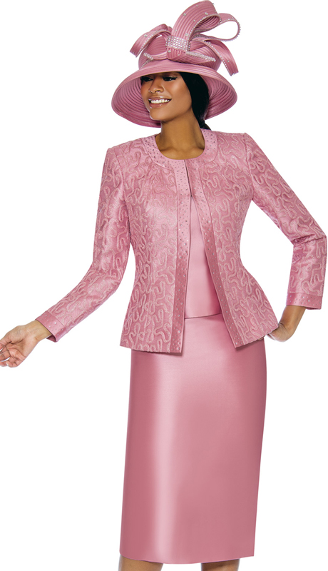 Susanna 3885-RO ( 3pc Silk Womens Church Suit With Patterned Jacket )