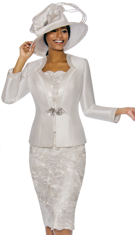 Susanna 3884-OW ( 3pc Silk Suit For Church With Floral Design Skirt  )